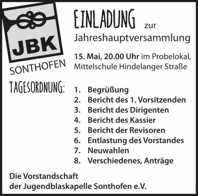 JBK Jahreshauptversammlung 2018 Einladung